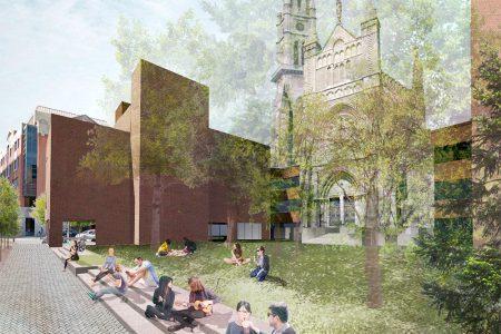 Programme Accès jardins. Aménagement proposé de la place du transept de l'église Saint-Jacques.